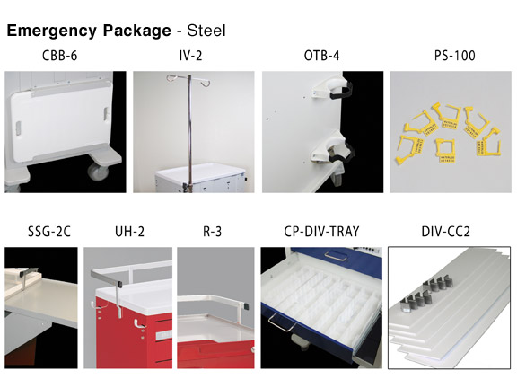 Emergency Cart Package for steel carts