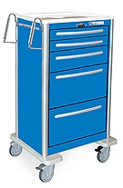 Five Drawer XTall Aluminum Crash Cart